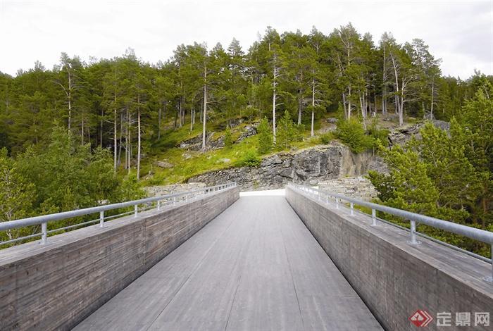 景观桥,山地,植物,桥