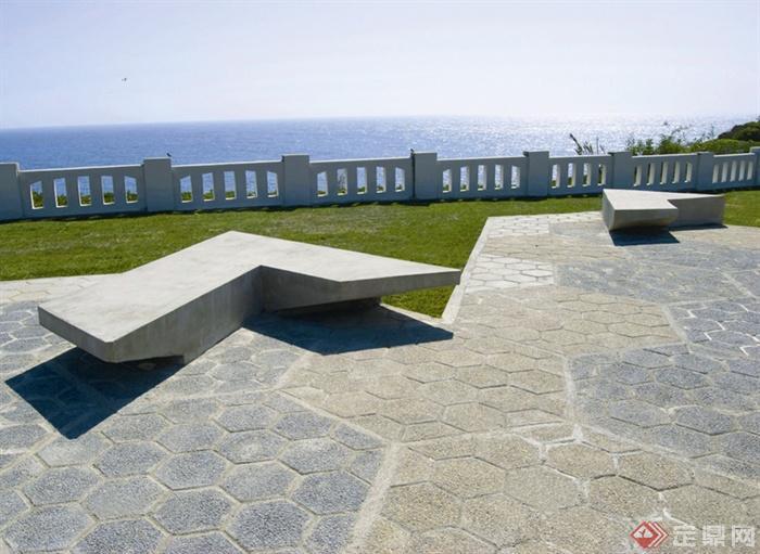 现代风格创意廊架-石凳坐凳栏杆-设计师图库