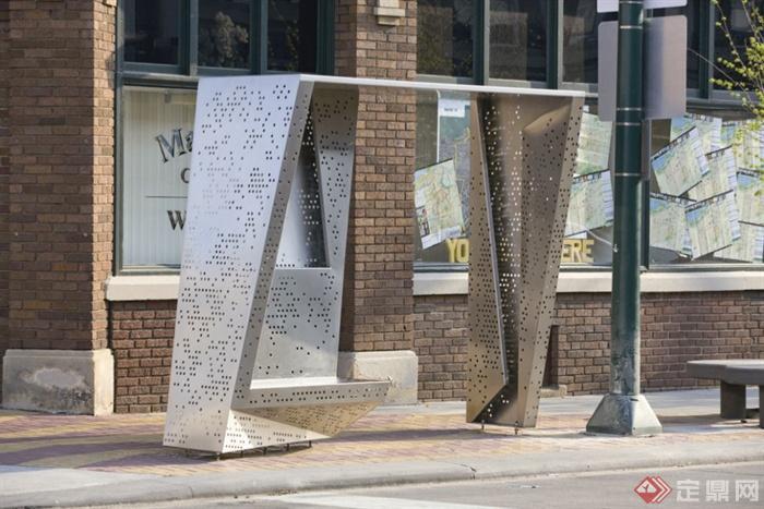 道路景观节点设计图片-坐凳人行道标志牌特色坐凳-师