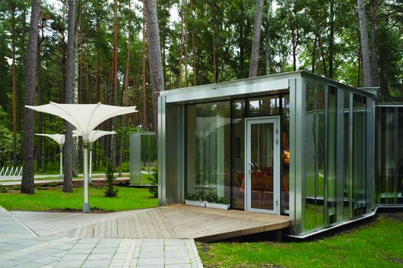 室外景观节点设计图片-庭院房休息屋木平台木栈道-师