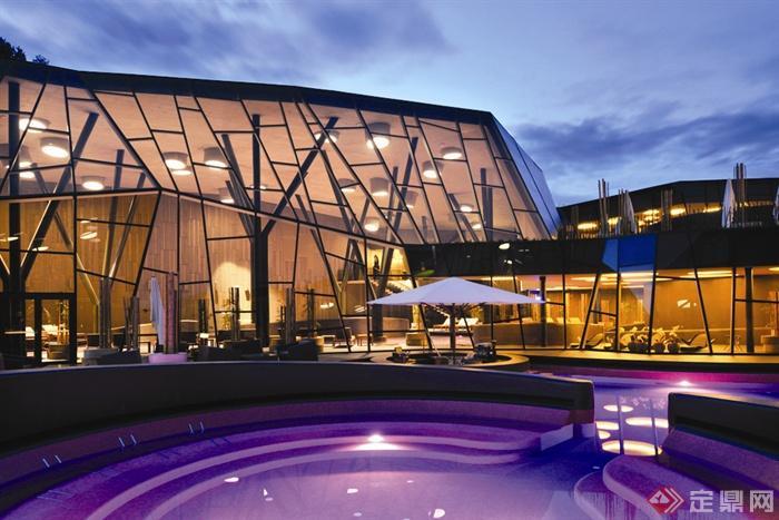 會所室內外設計實景圖-會所水池躺椅會所建筑-設計師