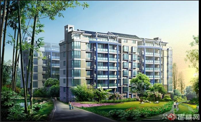 现代中式风格住宅建筑景观psd效果图高清图片