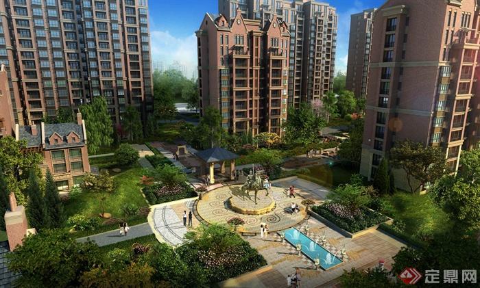 临颍阳光水岸住宅建筑规划图-住宅景观广场小品喷泉