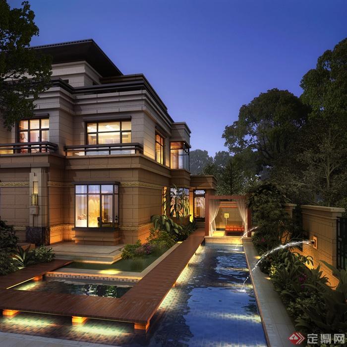 庭院景观,住宅建筑,别墅,木栈道,水景,水景景墙