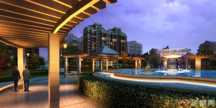 欧式风格住宅小区景观-住宅景观喷泉水景廊架凉亭-师
