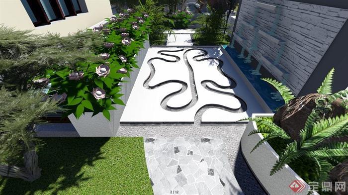 现代中式别墅庭院景观效果图