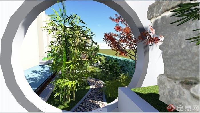 现代中式别墅庭院景观效果图[原创]
