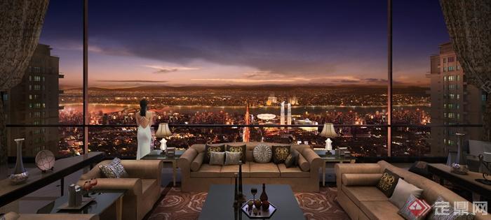 住宅区景观设计效果图-阳台庭院住宅景观阳台景观沙发