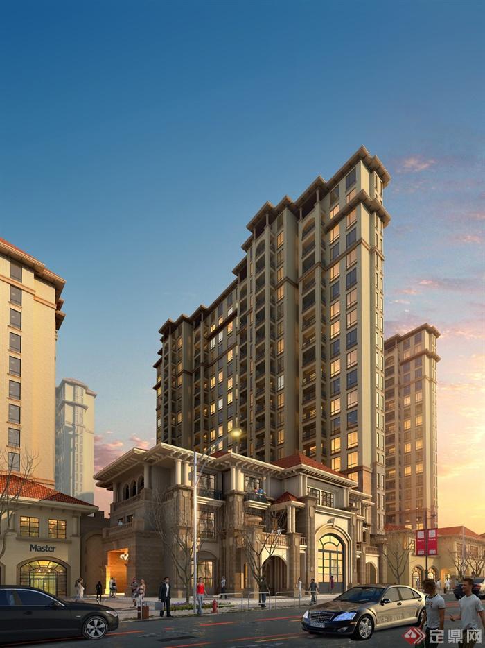 欧式风格商住建筑-商住楼大门高层住宅-设计师图库