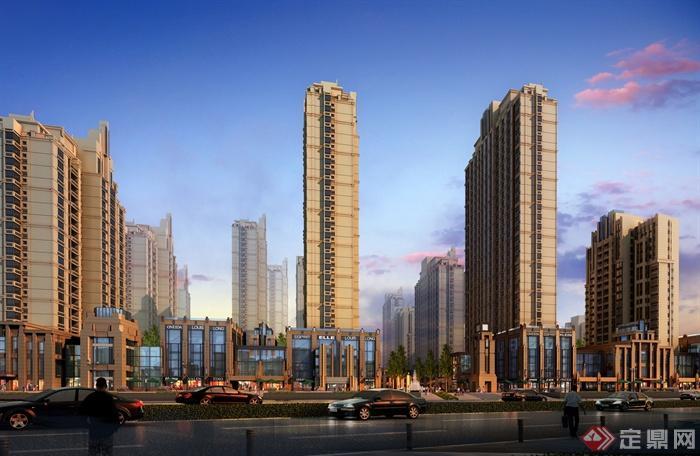 现代高层商住楼建筑效果图-商住楼高层住宅沿街商铺