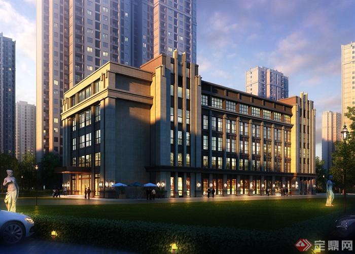 住宅建筑及商业建筑效果图-商业建筑办公楼草坪-设计