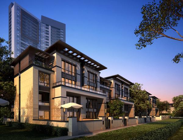 高层住宅小区建筑景观效果图-别墅住宅建筑围墙遮阳伞