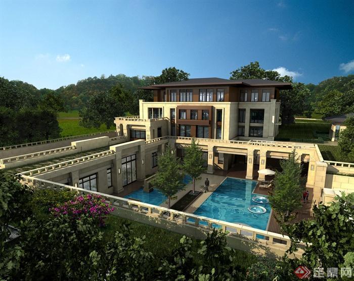 别墅,住宅建筑,庭院景观,泳池,树池,栏杆
