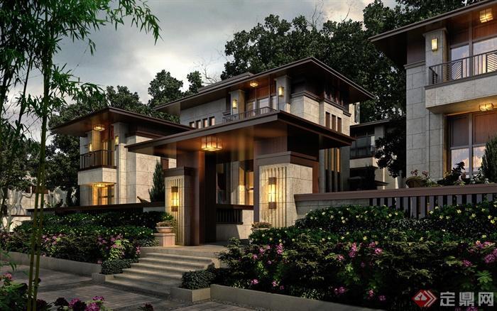 别墅,住宅建筑,住宅景观,花池,台阶,壁灯,围墙