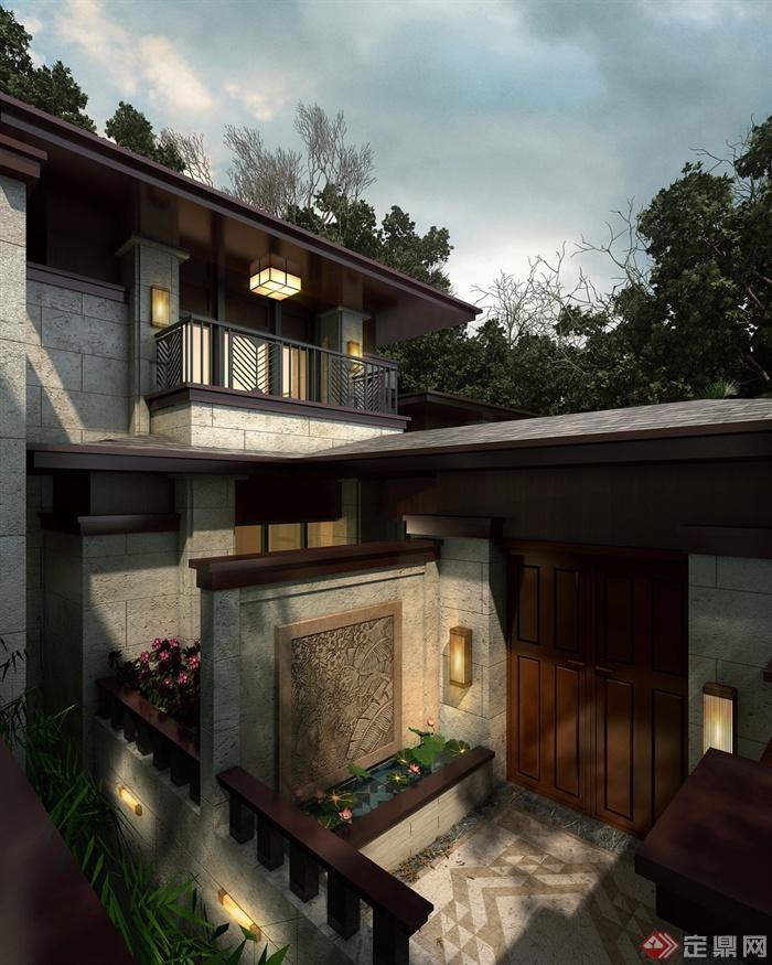 庭院景观,别墅,景墙,栏杆