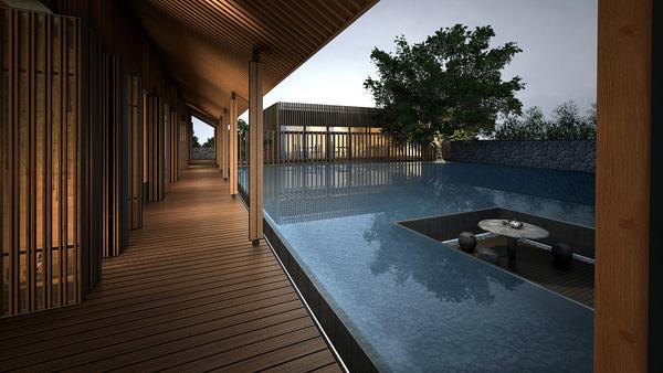 海口度假酒店旅游建筑景观-度假酒店水池-设计师图库