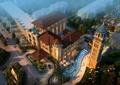住宅景观,水景,钟楼,住宅建筑