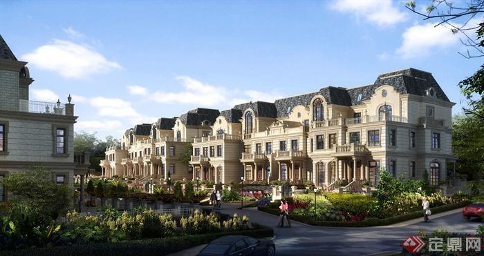 别墅,联排别墅,住宅建筑,花池,路灯