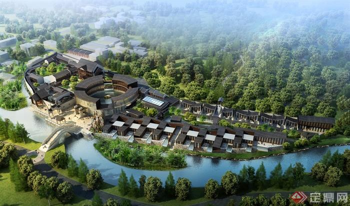 黄山西海山庄景观图-山庄景观水景植物桥-设计师图库