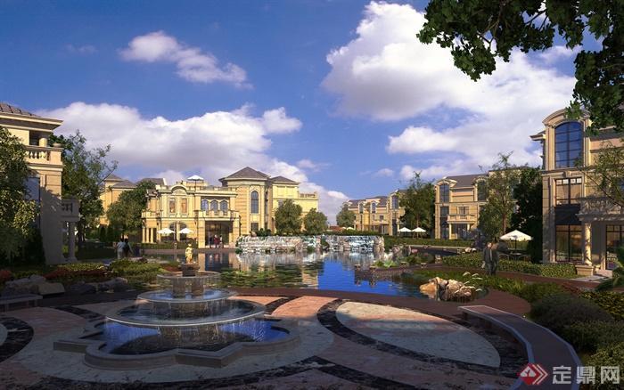 别墅区建筑规划设计农村-喷泉图片水景别墅区别墅水池中国图片