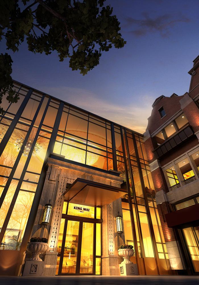 街建筑设计效果图-商业建筑会所门口玻璃幕墙花钵