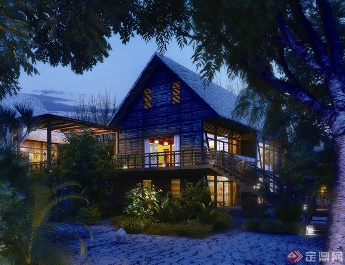 欧式各种建筑景观效果图-住宅景观植物-设计师图库