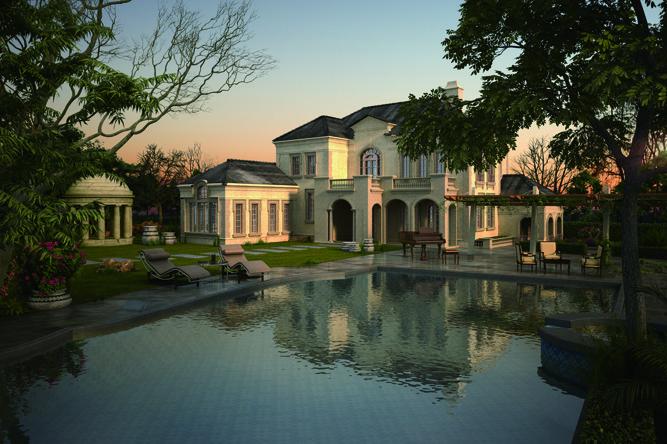 欧式别墅区景观图-别墅景观游泳池躺椅植物-设计师