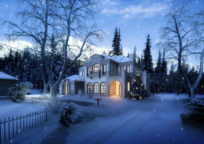 别墅景观,雪景