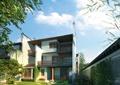 民宅,住宅建筑,新农村,石桌凳,草坪,庭院景观,围墙