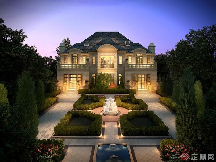 别墅景观,花坛,植物,喷泉,水体,建筑