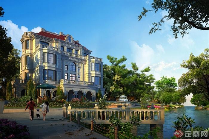 别墅区规划设计效果图-水景图纸建筑别墅别墅300平别墅平台图片
