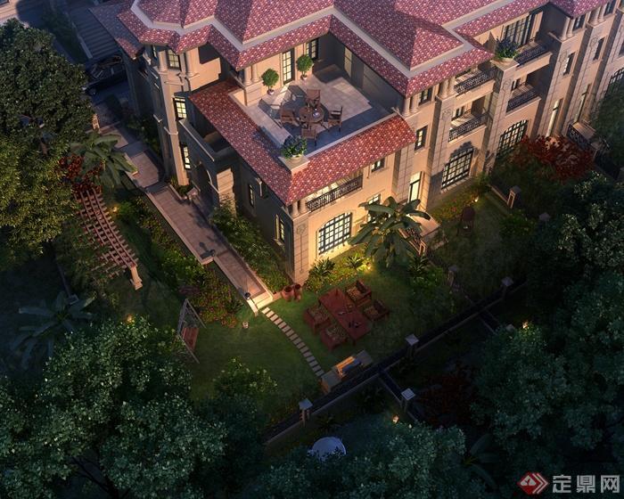 欧式住宅区-住宅景观别墅庭院景观廊架桌椅园路草坪