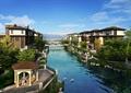 居住小镇,住宅景观,凉亭,栏杆,河道