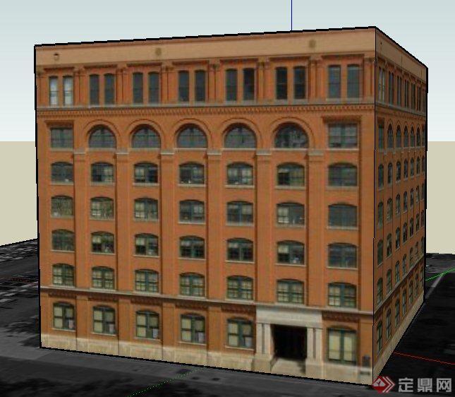 欧式七层图书馆建筑设计su模型