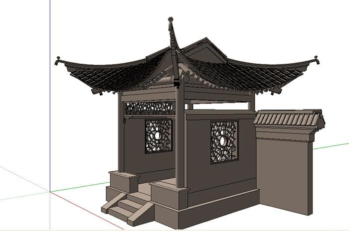 古典中式四角亭设计us模型图片