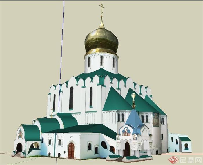 欧式风格圆顶教堂建筑设计su模型