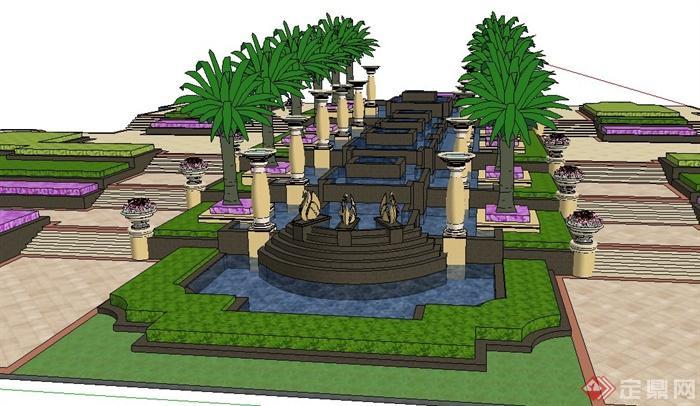 欧式风格叠水花钵组合景观su模型
