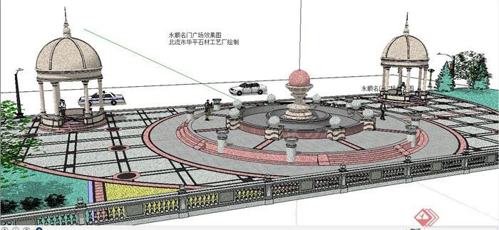 欧式风格小广场景观设计su模型