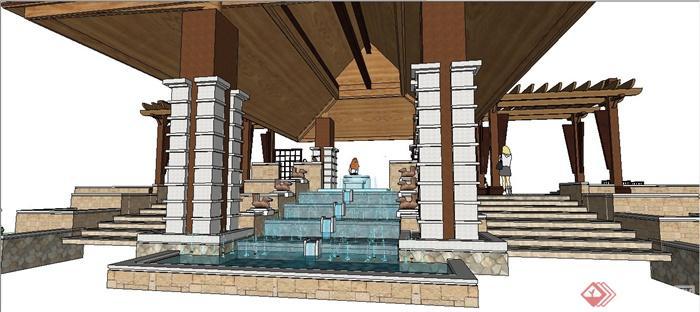东南亚风格廊架,凉亭,叠水景观组合su模型