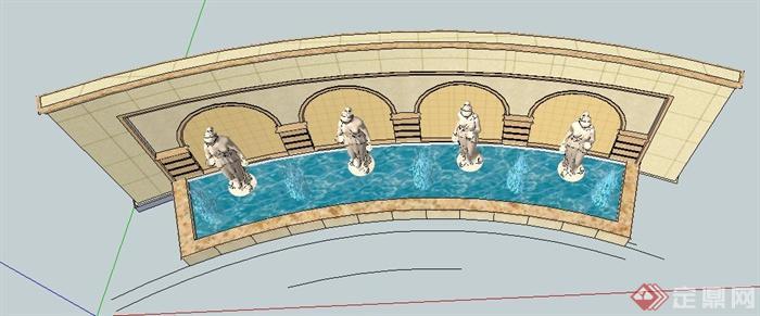 欧式风格弧形雕塑水景su模型