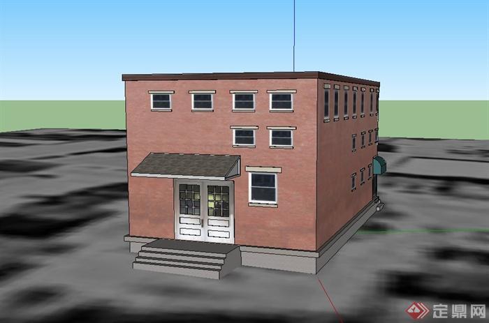 某两层欧式糕点店建筑设计su模型