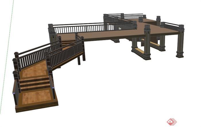木栈道平台设计su模型