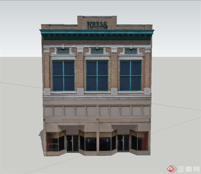 某欧式两层长条形商业建筑设计su模型