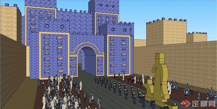 某欧式伊什塔尔城建筑设计su模型(2)