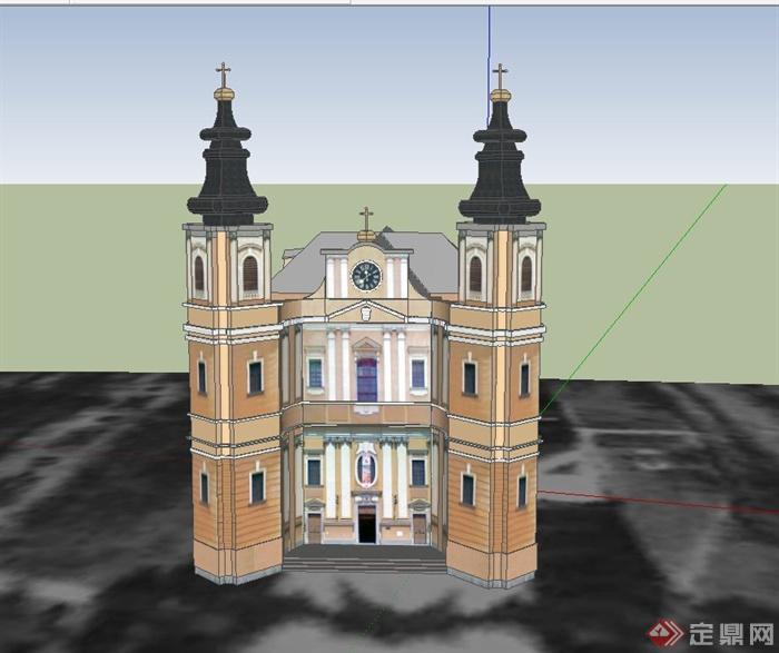 某欧式多层基督教堂建筑设计su模型