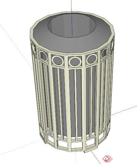 > 一个垃圾桶设计的su模型,圆柱形造型,外围铁栏较为独特,模型制作