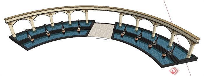 欧式风格弧形水景su模型