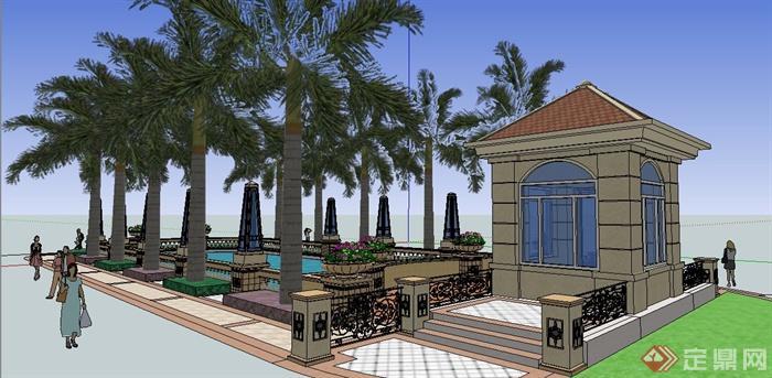 欧式风格岗亭及水池组合景观su模型