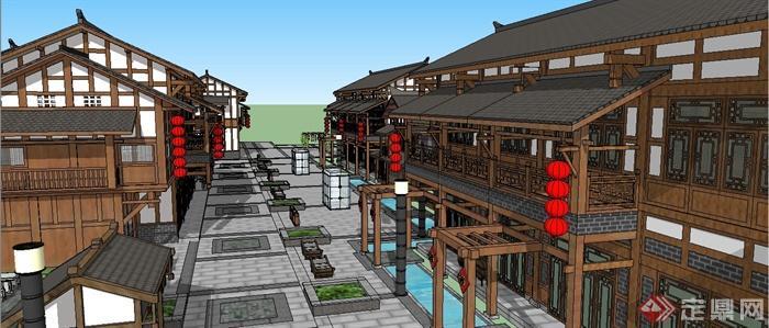 古典中式风格古建商业街建筑设计su模型(4)