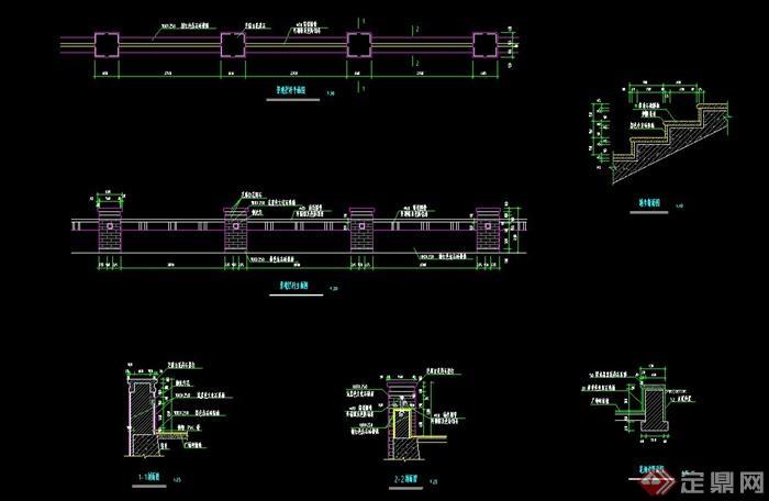 园林景观栏杆设计cad施工图,该设计有剖面图,平面图,立面图和楼梯踏步